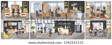 Office building interior. People sitting at the desk and work on computer. Busy worker. Corporate environment. Big company. Vector illustration in cartoon style