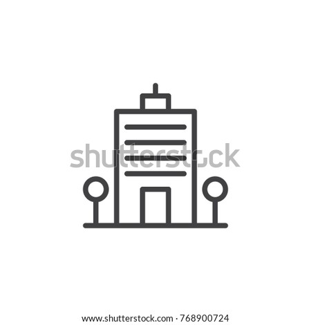 Office building line icon, outline vector sign, linear style pictogram isolated on white. Business center tower symbol, logo illustration. Editable stroke