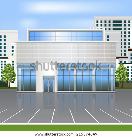 office building with reflection and parking on the street background