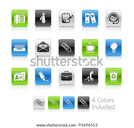 Office & Business Buttons  / The file Includes 4 color versions in different layers.
