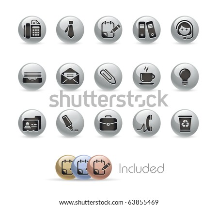 Office & Business // Metal Round Series --- It includes 4 color versions for each icon in different layers---