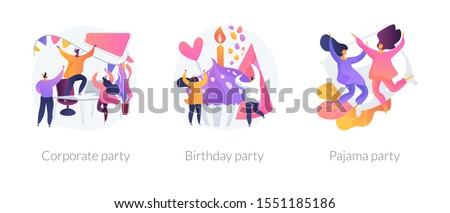 Office celebration, anniversary congratulations, girlfriends sleepover icons set. Corporate party, birthday party, pajama party metaphors. Vector isolated concept metaphor illustrations