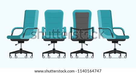 Office chair or desk chair in various points of view. Armchair or stool in front, back, side angles. Furniture for Interior in flat icon design. Vector illustration.