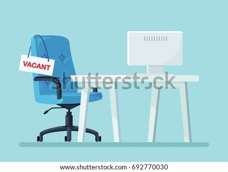 office chair with vacancy sign