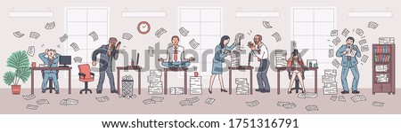 Office chaos and rush scene with company employees working in deadline stressful environment, vector illustration. Work mess and office workplace disorder.