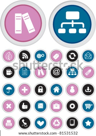 office circle buttons, icons, signs, vector illustrations set - stock vector