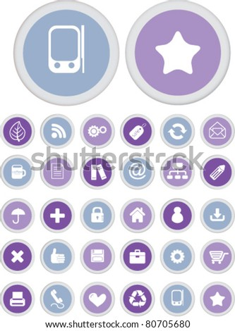 office circle interface buttons icons, signs, vector illustrations
