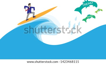 Office clerk catch the wave and chasing trends.  Chasing trends concept illustration. Surfing office clerk concept.