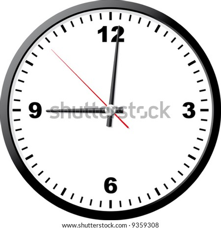 Office clock. Vector illustration. It is isolated on a white background.