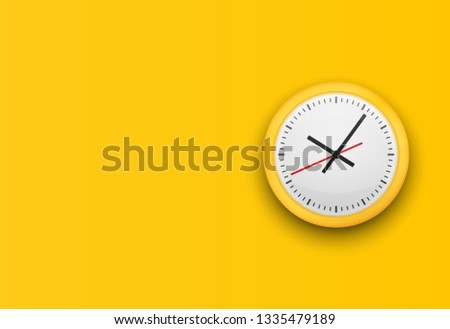 Office clock without numbers. Design template closeup. Mockup for branding and advertising isolated on yellow trendy background. Vector illustration.