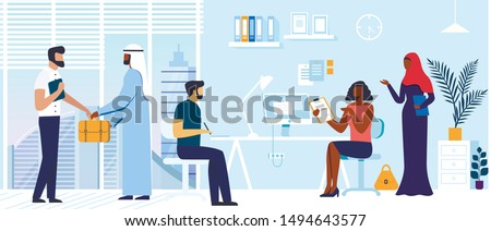 Office Colleagues Coworking Vector Illustration. Muslim Business People Cartoon Characters. Arab Businessman with Assistant. Team Discussing Corporate Matters Together. Company Staff Cooperation