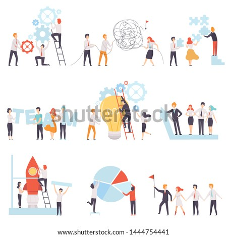 Office Colleagues Working Together Set, Business Team, Teamwork, Cooperation, Partnership Vector Illustration Stock photo ©