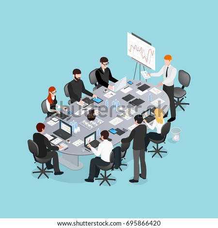 Office conference isometric design with speaker near board and participants behind table on blue background vector illustration