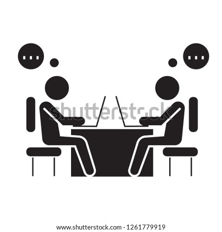 Office coworkers black vector concept icon. Office coworkers flat illustration, sign