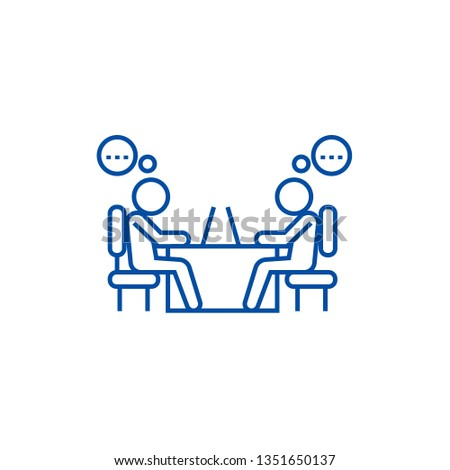 Office coworkers line icon concept. Office coworkers flat  vector symbol, sign, outline illustration.