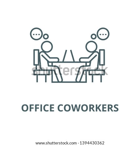 Office coworkers vector line icon, linear concept, outline sign, symbol