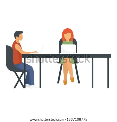Office coworking icon. Flat illustration of office coworking vector icon for web design