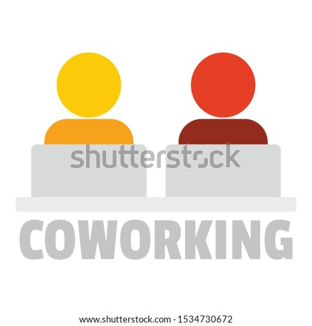 Office coworking logo. Flat illustration of office coworking vector logo for web design