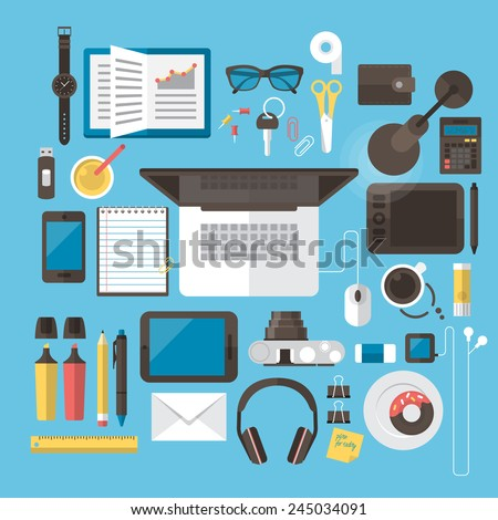 Office desk and workspace concept with flat modern icon design stock photo