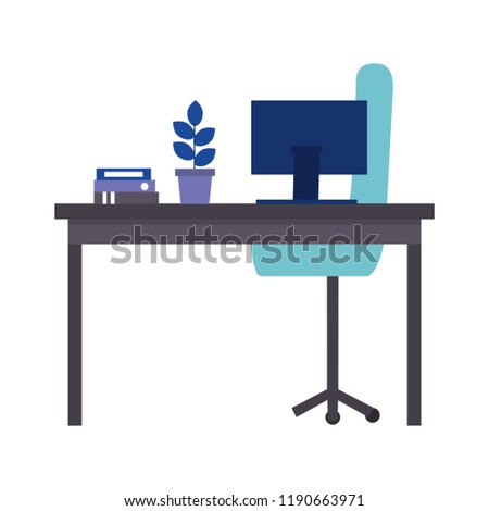 office desk computer folder chair plant