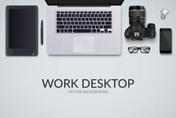 Office desk table with laptop, photo camera, glasses, graphic tablet, pen, phone and flash drive. Top view with copy space. Eps10 vector template.