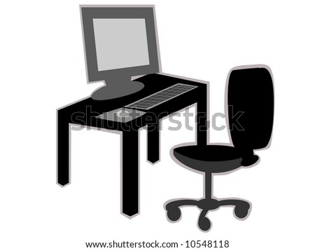 Office desk with chair in black and white