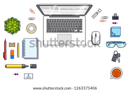 Office desk workspace top view with laptop computer and diverse stationery objects for work isolated, overhead look. All elements easy to use separately or recompose the illustration. Vector.