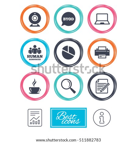 Office, documents and business icons. Pie chart, byod and printer signs. Report, magnifier and web camera symbols. Report document, information icons. Vector