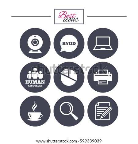 Office, documents and business icons. Pie chart, byod and printer signs. Report, magnifier and web camera symbols. Classic simple flat icons. Vector