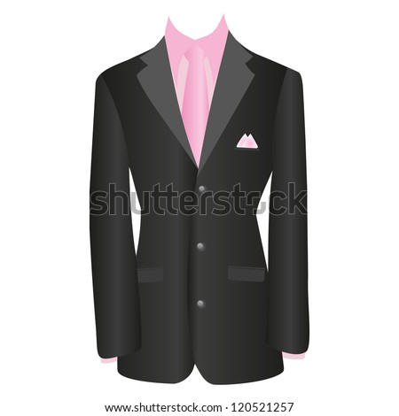 office dress, black jacket, shirt, tie, suit, vector illustration