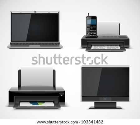 office electronics vector icons xxl