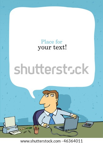 office employee at the table, place for text, vector