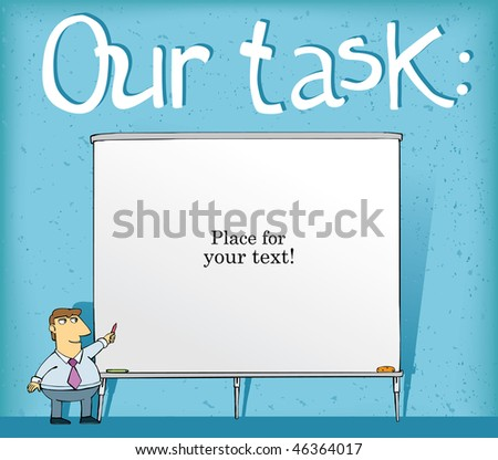 office employee next to a large board for a letter, place for a text  vector