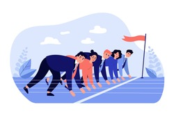 Office employees at start line of racing track. Business professionals ready to run sprint. Vector illustration for career competition, office competitors, rivalry concept