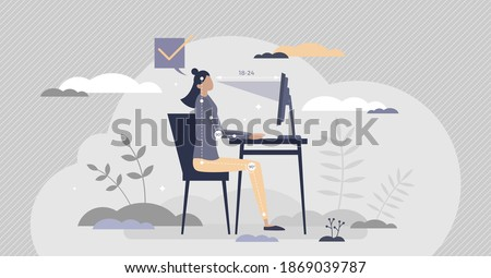 Office ergonomics as correct and healthy sitting posture tiny person concept. Workspace table or chair adjustable position for spinal comfort vector illustration. Computer workstation modern equipment Foto stock ©