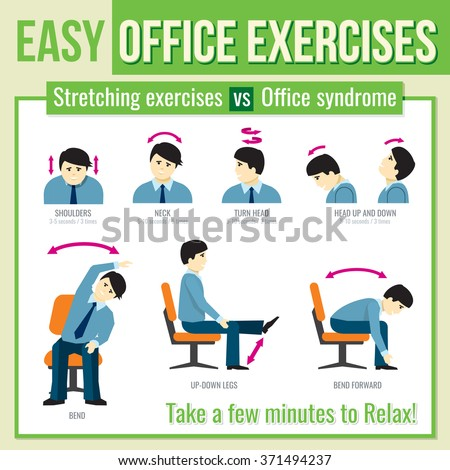 Office exercises with businessman character. Relax infographic. Vector illustration