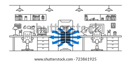 Office floor air conditioner vector illustration. Open space office room with vertical air conditioner (ac) line art concept.