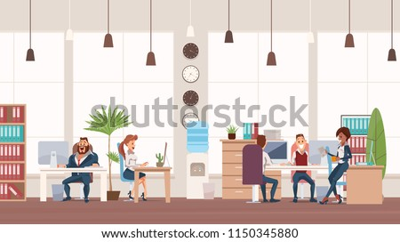 Office Fun. People Work in Office. Happy Workers in Workplace. Businessmen in Suits sitting at Table. Men and Women Work. Corporate Culture in Company. Cheerful Working Day. Vector Illustration.