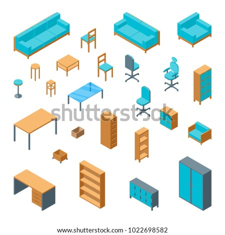 office furniture 3d icons set