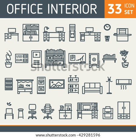Office Furniture Icons Set Of Thirty Three Interior Elements Collection Contour Drawing Equipment