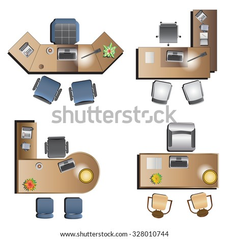 Office Furniture Top View For Interior , Vector Illustration