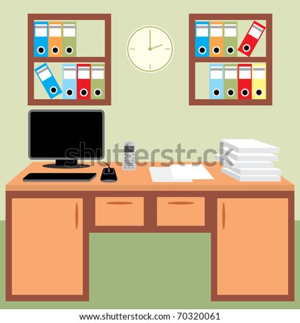 Luxury Retro Office Furniture Vector Free Vector