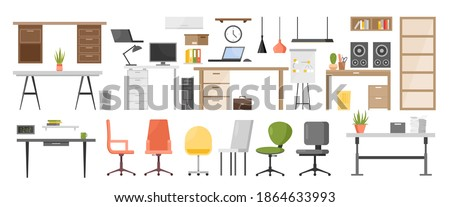 Office furniture vector illustration set. Cartoon ergonomic furnishing objects for modern interior design collection with chair and manager table with laptop, hanging lamp, bookcase isolated on white Photo stock ©