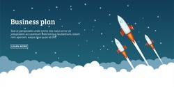 Office future rocket launch banner horizontal concept. Cartoon illustration of office future rocket launch banner horizontal vector concept for web