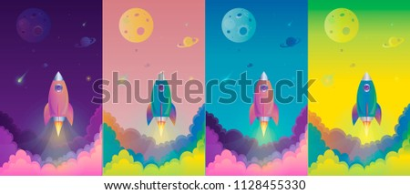 Office future rocket launch banner horizontal concept. Cartoon illustration of office future rocket launch banner vertical vector concept for web or mobile game. Сток-фото ©