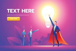Office hero admired by colleagues for courage, ideal manager in superhero cloak boasting. Vector flat style cartoon illustration