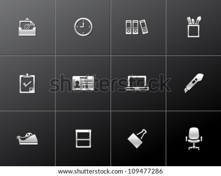 Office icon series in metallic style - stock vector