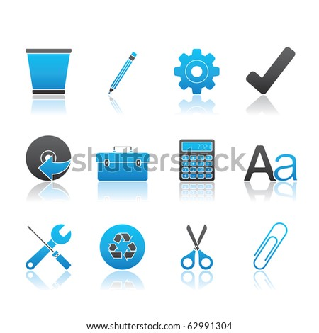 Office icon set 14 � Blue Series.  Vector EPS 8 format, easy to edit.