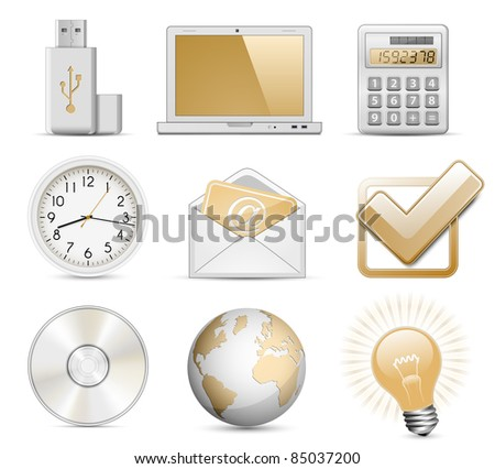 Office Icon Set. Highly detailed vector icons