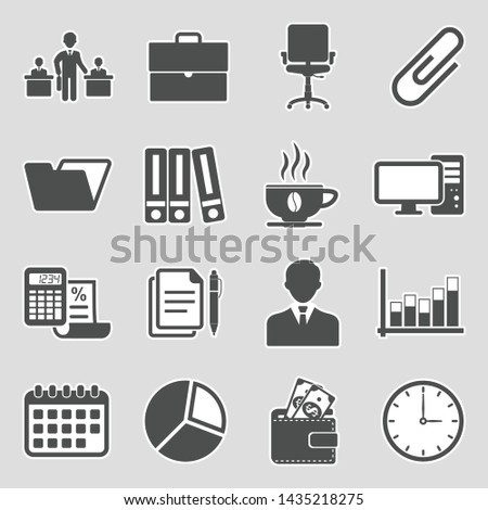 Office Icons. Set 2. Sticker Design. Vector Illustration.